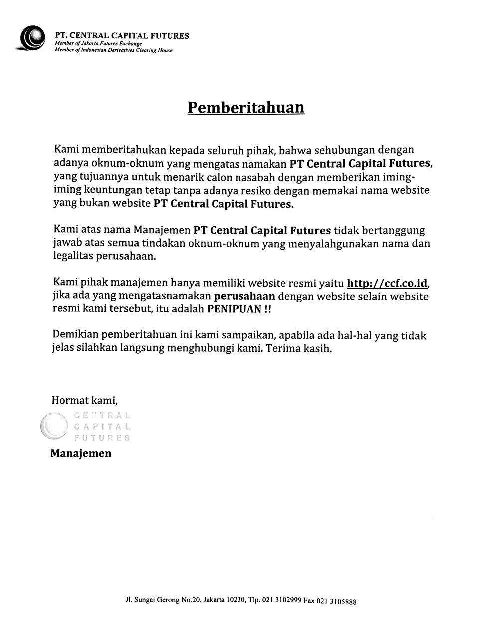 Waspada Penipuan atas nama PT Central Capital Futures | ccf